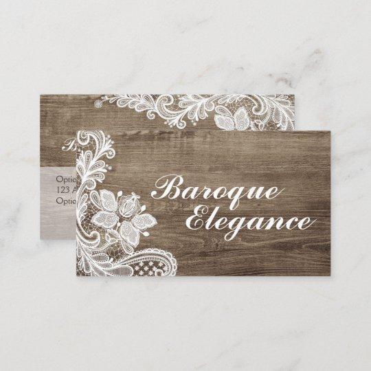 Vintage baroque lace on rustic elegant barn wood business card vintage baroque lace on rustic elegant barn wood business card reheart Image collections