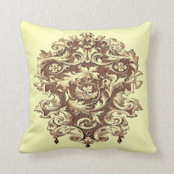 Vintage Baroque Scrollwork Throw Pillow
