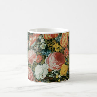 Vintage Baroque Still Life Flowers in a Vase Classic White Coffee Mug