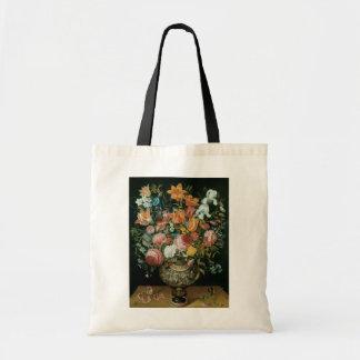 Vintage Baroque Still Life Flowers in a Vase Tote Bag