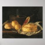 Vintage Baroque Still Life with Bread, Tart, Ham Poster