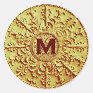 Vintage barroco del monograma M del oro que casa Pegatina Redonda