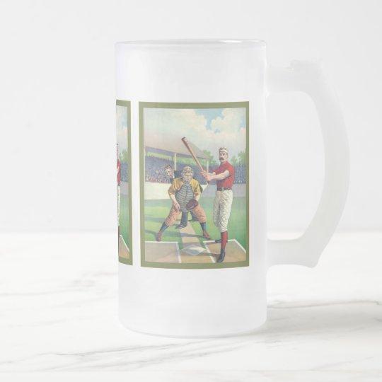 Vintage Baseball 1895 Frosted Glass Beer Mug