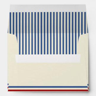 Vintage Baseball 5 x 7 Blue Stripes Envelope