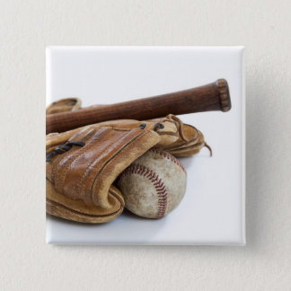 Vintage Baseball and Bat Pinback Button