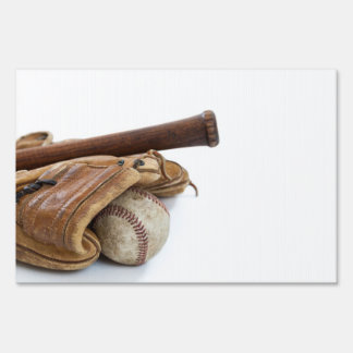 Vintage Baseball and Bat Sign