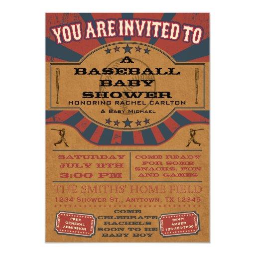 Vintage Baseball Birthday Invitations: Vintage Baseball Baby Shower Invitation
