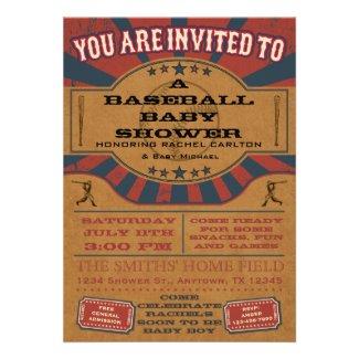Vintage Baseball Baby Shower Invitation