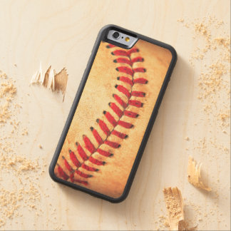 Vintage baseball ball carved maple iPhone 6 bumper case