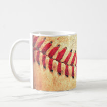 baseball, sport, funny, vintage, cool, retro, game, pattern, rustic, mug, college, american, leather, major, league, lace, red, Caneca com design gráfico personalizado