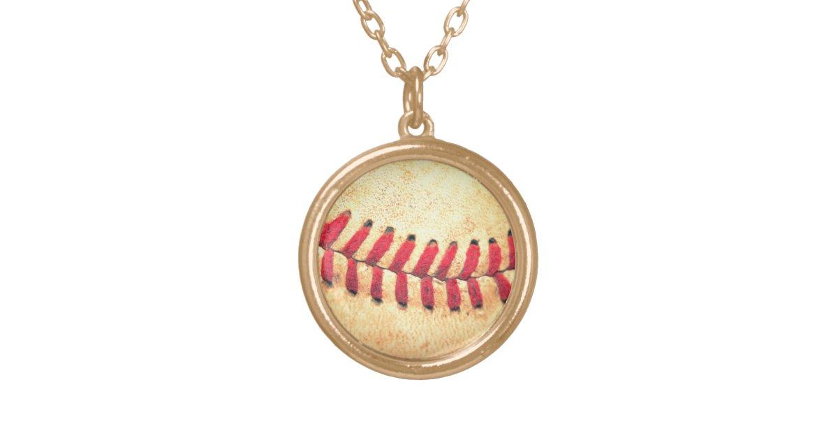 vintage baseball gold plated necklace zazzle