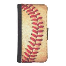 Vintage baseball ball iPhone SE/5/5s wallet at Zazzle