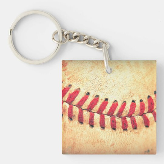 Vintage baseball ball keychain