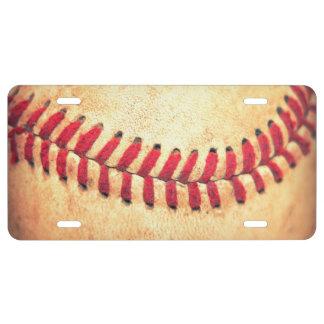 Vintage baseball ball license plate