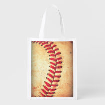 baseball, vintage, funny, sport, cool, game, pattern, retro, rustic, bag, geek, americana, leather, league, lace, red, reusable, grocery, [[missing key: type_reusableba]] with custom graphic design