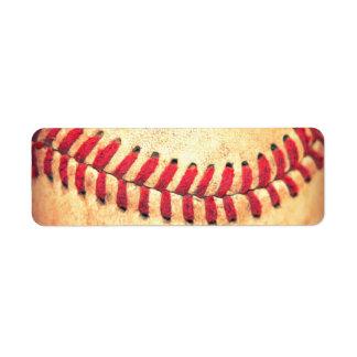 Vintage baseball ball return address label