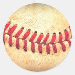 Vintage baseball ball round stickers