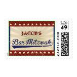 VINTAGE BASEBALL Bar Mitzvah Invitation Postage Stamp