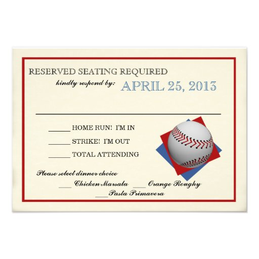 Vintage Baseball Bar Mitzvah Reply Invitations
