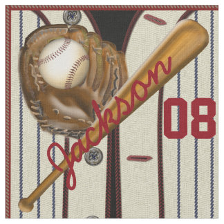 Vintage Baseball Bat Ball Glove Name and Number Fabric