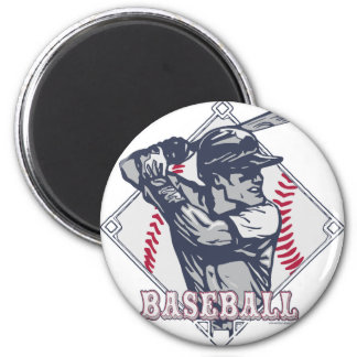 Vintage Baseball Batter Diamond Design 2 Inch Round Magnet