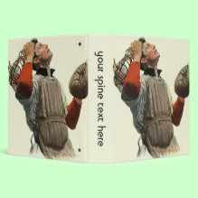 Vintage Baseball Binder - Vintage illustration featuring a catcher looking up to the sky as if waiting for a ball to come back down.
