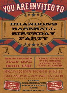 Vintage Baseball Birthday Party Invitation