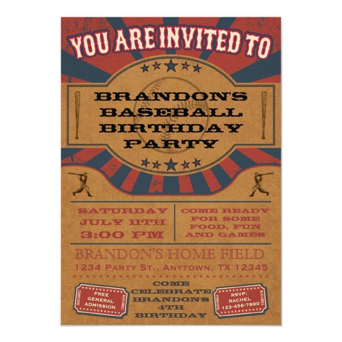 Vintage Baseball Birthday Invitations: Vintage Baseball Birthday Party Invitation