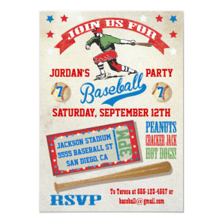 baseball birthday party invitations  announcements  zazzle, Birthday invitations