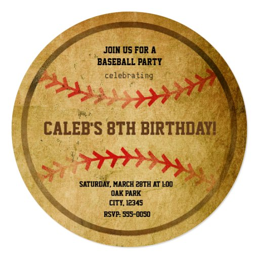Vintage Baseball Birthday Invitations: Vintage Baseball Birthday Party Sports Invitation