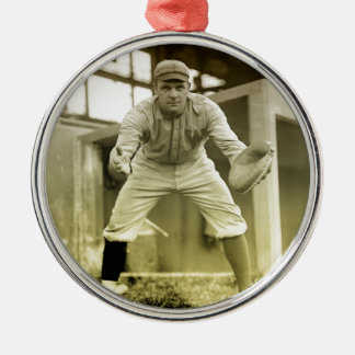 Vintage Baseball Catcher Metal Ornament