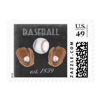 Vintage Baseball Chalkboard Design Postage