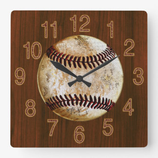 Vintage Baseball Cherry Wood look Baseball CLOCK