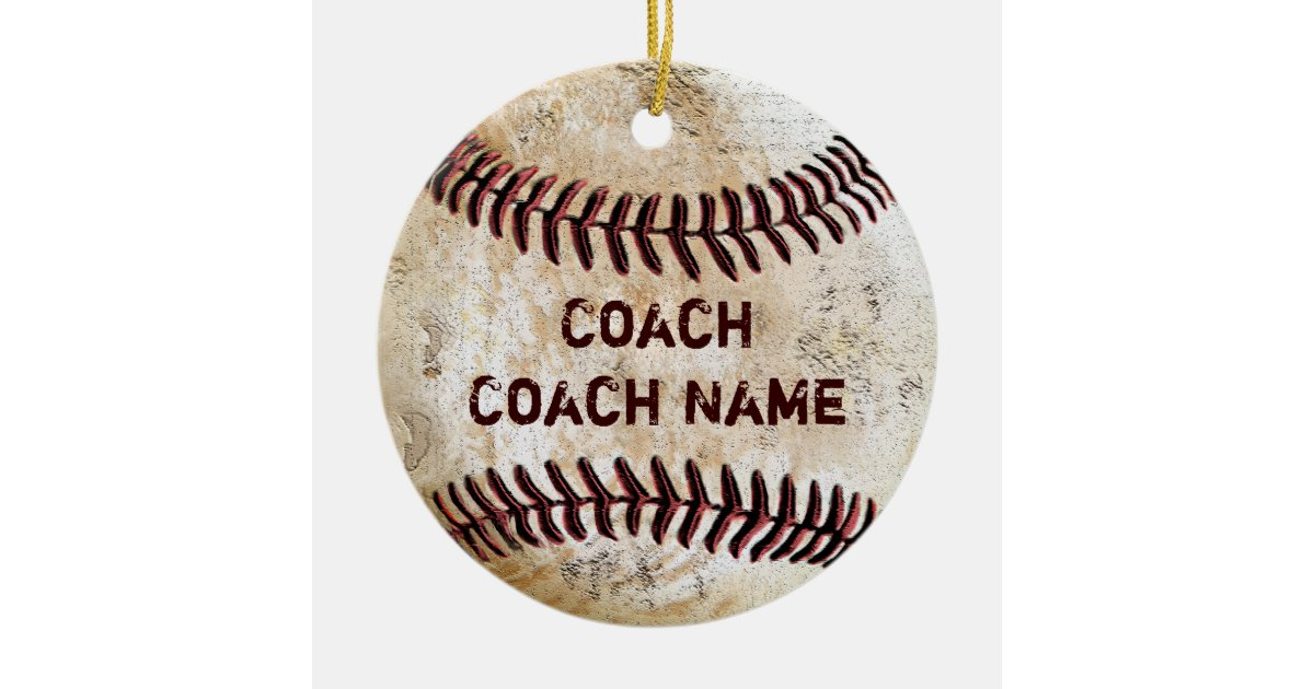 Vintage Baseball Coach Gifts Personalized Ornament