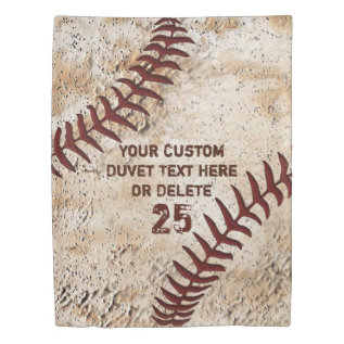 Vintage Baseball Duvet Cover With Your Text at Zazzle