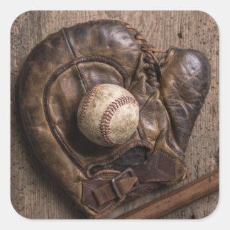 Vintage Baseball Equipment Square Sticker