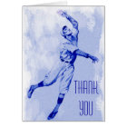 Vintage Baseball Fielder Thank You Note Card