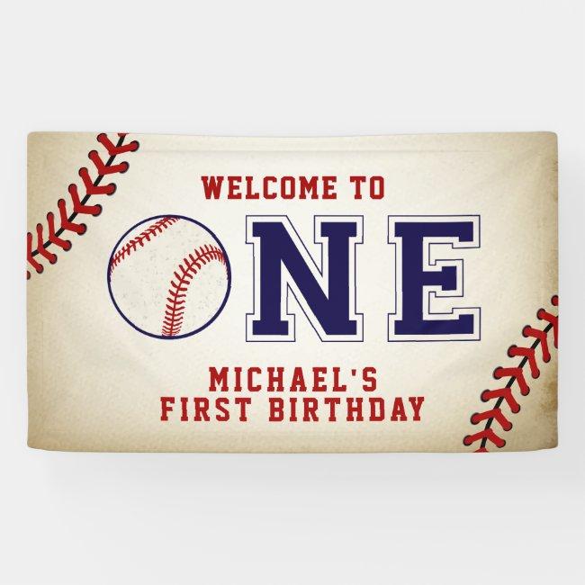 Vintage Baseball First Birthday Banner
