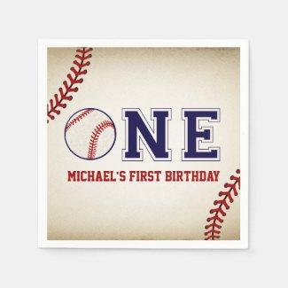 Vintage Baseball First Birthday Napkins