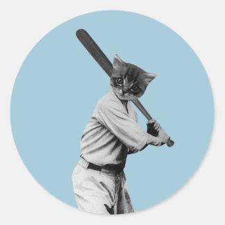 vintage baseball funny cat classic round sticker