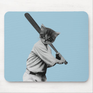 vintage baseball funny cat mouse pad