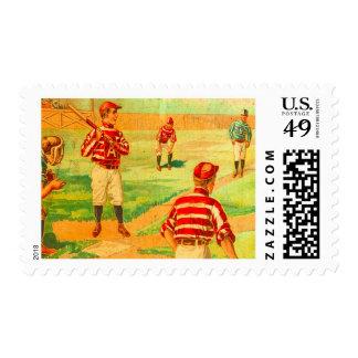 Vintage Baseball Game Victorian Team Boys Summer Postage Stamp
