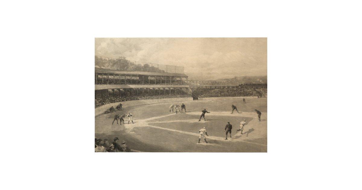 Vintage Baseball Game Wood Wall Art   Zazzle.com