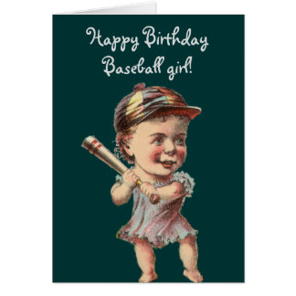 vintage Baseball Girl birthday or greetings Card