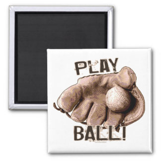Vintage Baseball Glove Ball from Mudge Studios 2 Inch Square Magnet