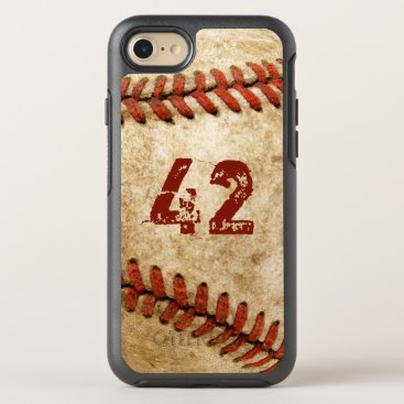 Vintage Baseball Grunge Look with Your Number OtterBox Symmetry iPhone 7 Case