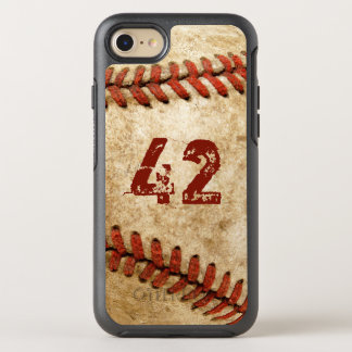 Vintage Baseball Grunge Look with Your Number OtterBox Symmetry iPhone 8/7 Case