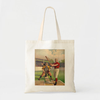 Vintage Baseball Illustration Batter and Catcher Tote Bag