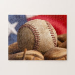 "Vintage Baseball Jigsaw Puzzle<br><div class=""desc"">Vintage basball and glove with American flag in the background</div>"