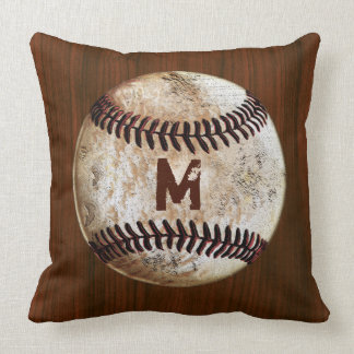 Vintage Baseball Monogrammed Throw Pillows for Him